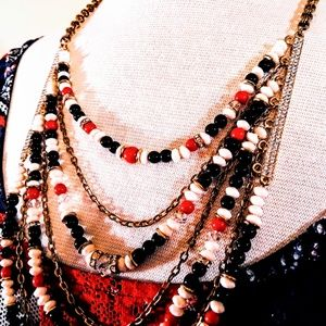 Multi Strand Red White Blue Beaded Necklace